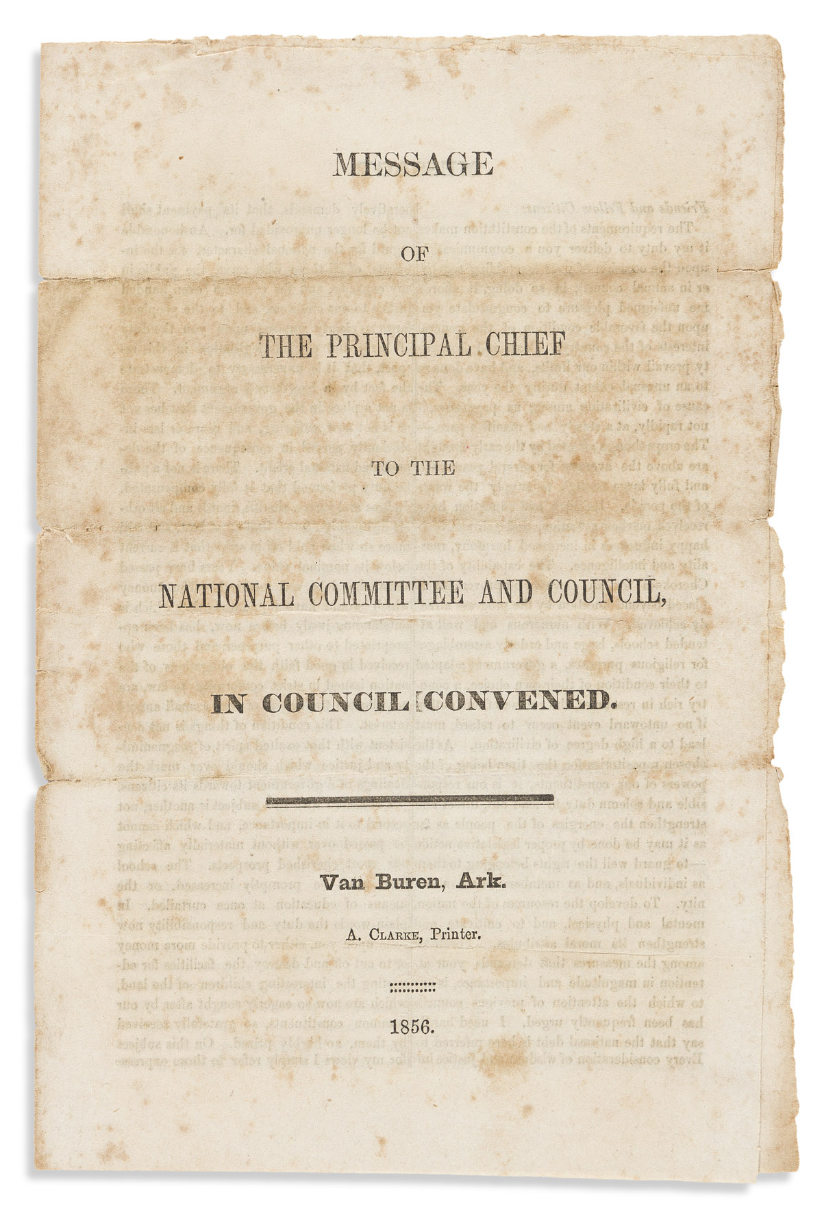 (AMERICAN INDIANS.) John Ross. Message of the Principal Chief to the National Committee and Council.