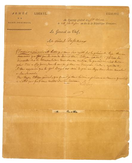 (HAITI.) [LOUVERTURE, TOUSSAINT] LECLERC, CHARLES VICTOR EMMANUEL. Autograph Letter Signed from General Le Clerc to General Desforneau