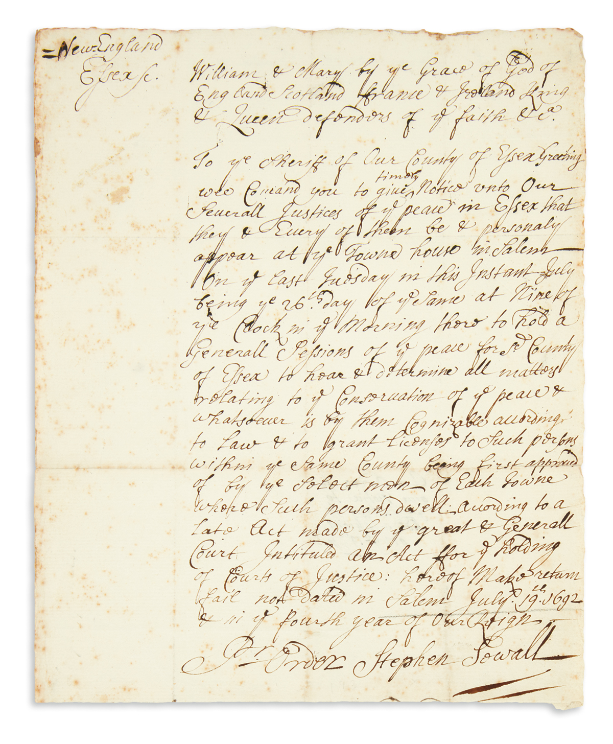 SEWALL-STEPHEN-Autograph-Document-Signed-ordering-a-meeting-