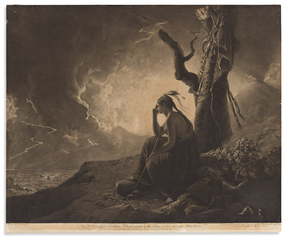(AMERICAN INDIANS.) John Raphael Smith, engraver; after Wright. The Widow of an Indian Chief Watching the Arms of Her Deceasd Husband.
