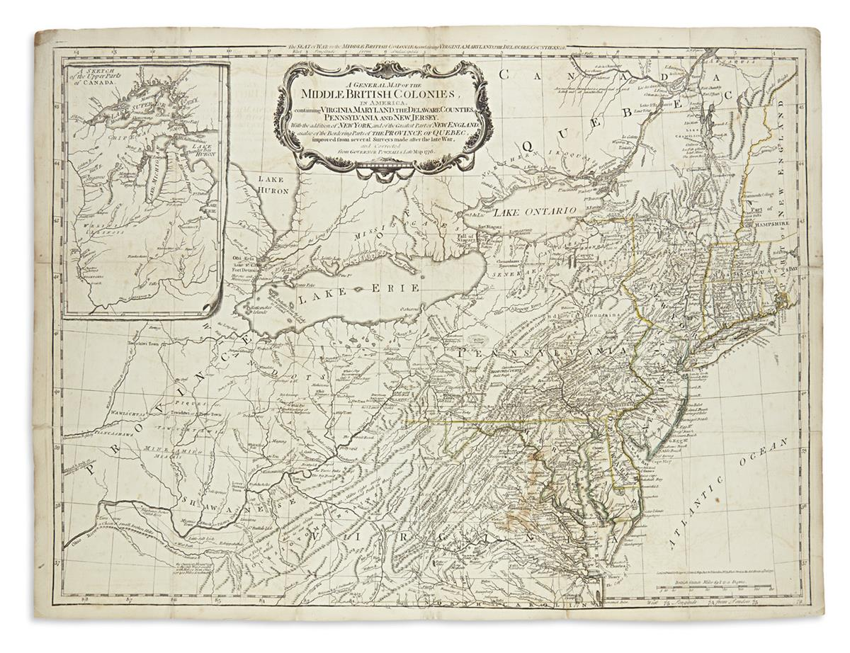 SAYER, ROBERT; and BENNETT, JOHN. A General Map of the Middle British Colonies in America.