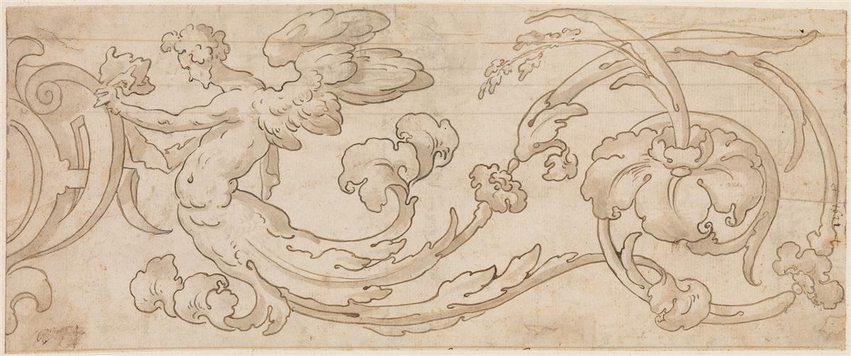 FLORENTINE-SCHOOL-17TH-CENTURY-Design-for-a-Floral-Ornament-