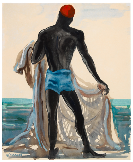 HALE-WOODRUFF-(1900---1980)-African-Man-with-Fishing-Nets