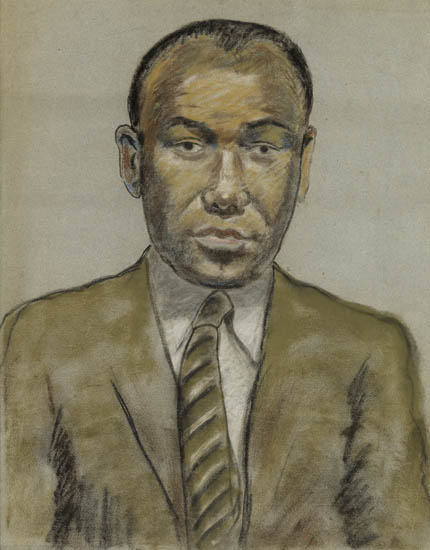 BEAUFORD DELANEY (1901 - 1979) Portrait of a Young Man in Suit and Tie.