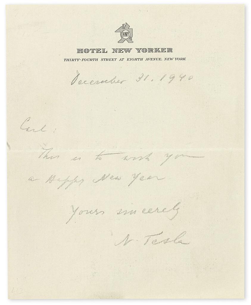 "TESLA, NIKOLA. Brief Autograph Letter Signed, ""N Tesla,"" to ""Carl,"" in pencil:"