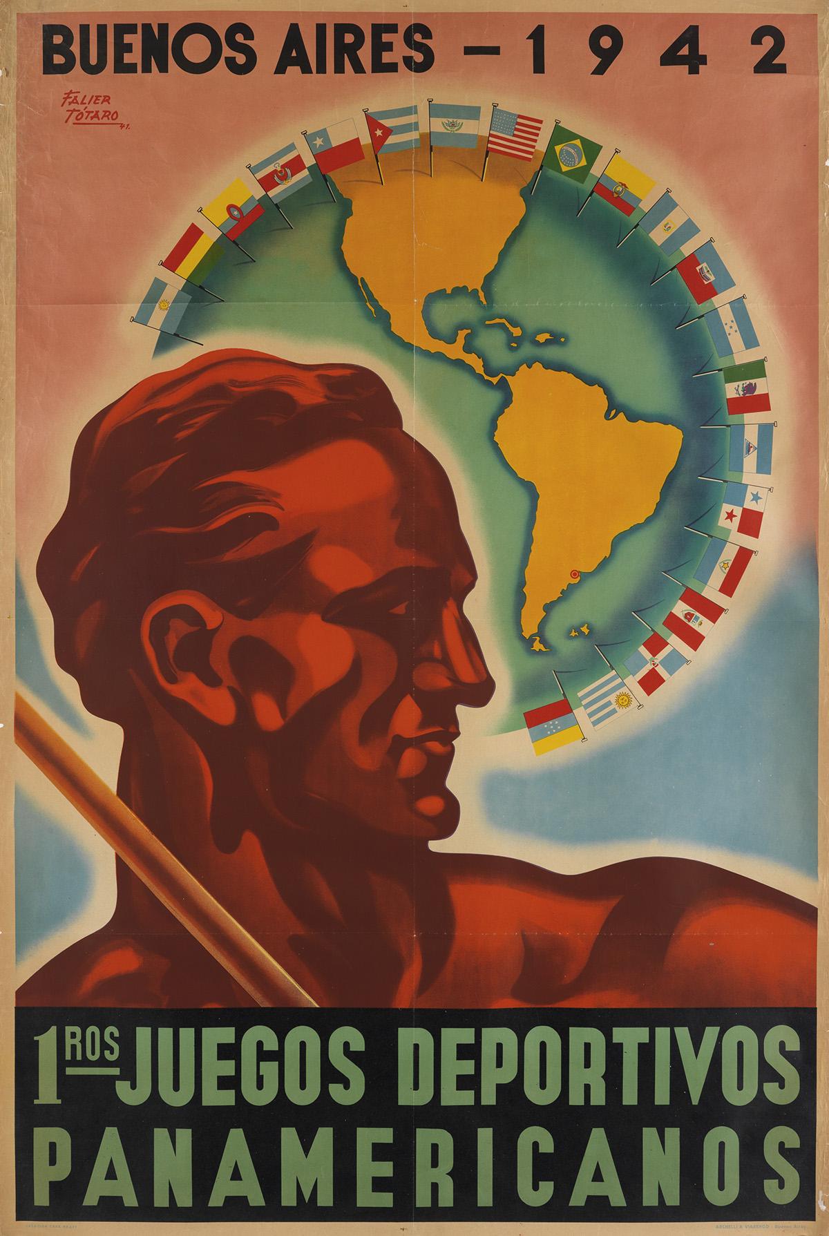 FALIER TOTARO (DATES UNKNOWN). 1ROS JUEGOS DEPORTIVOS PANAMERICANOS. 1941. 43x29 inches, 110x73 cm. Archelli & Viarengo, Buenos Aires.