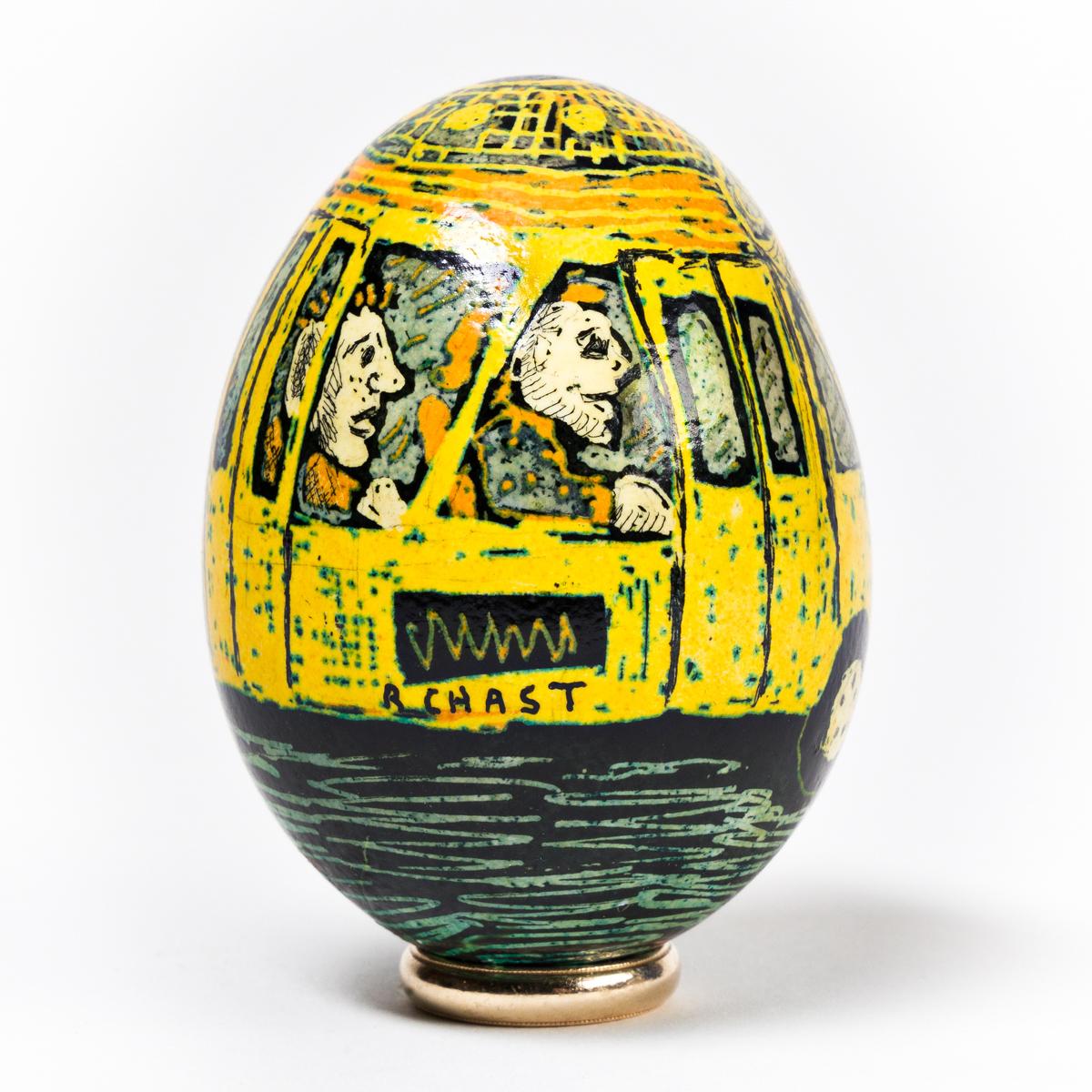 ROZ CHAST (1955- ) New York City Bus. [CARTOONS / NEW YORKER CARTOONIST / PYSANKA EGG]