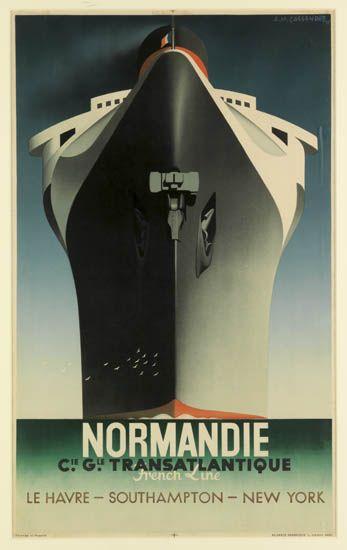 (FRENCH LINE.) Normandie. Normandie. Cie. Gle. Transatlantique. French Line. Le Havre - Southampton - New York.