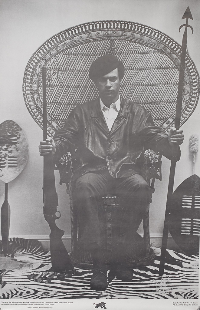 (BLACK PANTHERS.) HUEY NEWTON. The racist dog policemen must withdraw immediately from our communities.