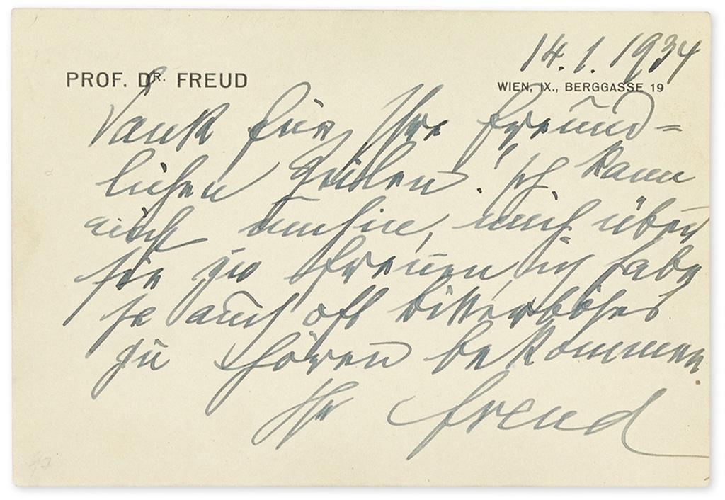 "FREUD, SIGMUND. Brief Autograph Letter Signed, ""Freud,"" to Sam M. Howard, in German:"