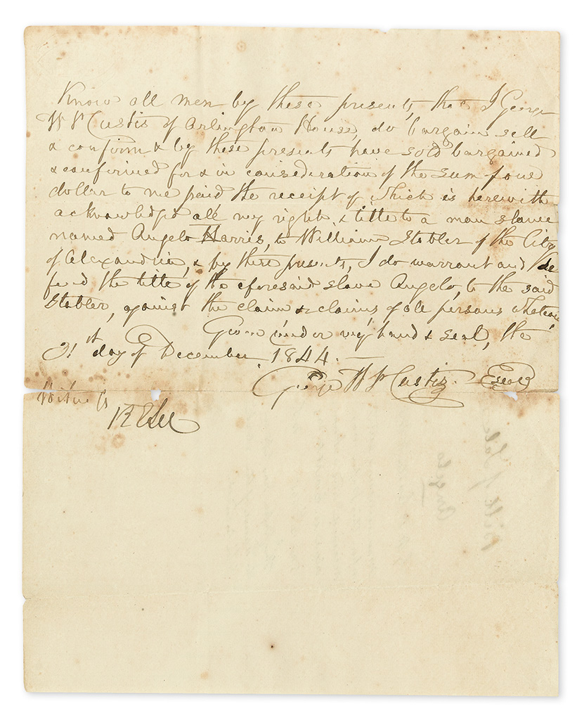 LEE, ROBERT E. Document Signed, RELee, as witness, transferring Angelo Harris from George Washington Parke Custis to William Stabler.