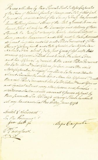 (SLAVERY AND ABOLITION--NEW YORK.) Early New York Manuscript Slave Sale Document, wherein Moses Carpenter of Warrick in Orange County,
