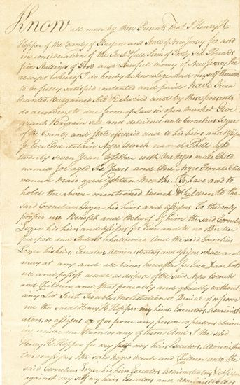 (SLAVERY AND ABOLITION--NEW JERSEY.) Early New Jersey Manuscript Slave Sale Document, wherein Henry H. Hopper of Bergen County, New Jer