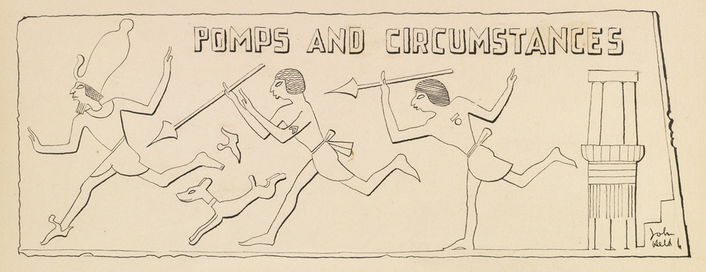 JOHN-HELD-JR-Group-of-3-cartoons-with-Ancient-Egyptian-motif