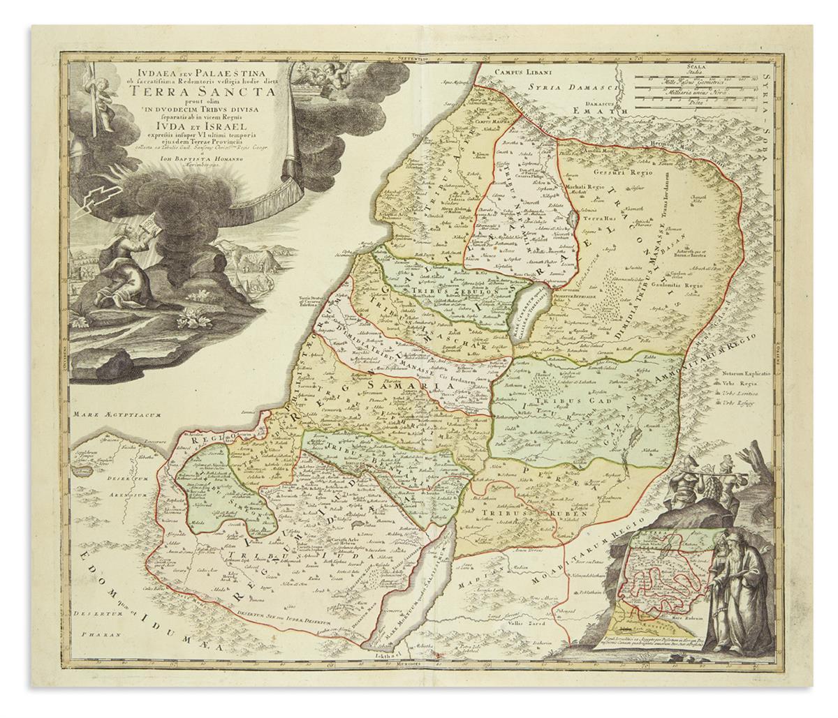 (HOLY-LAND)-Homann-Johann-Baptist-Judaea-seu-Palaestina-ob-S