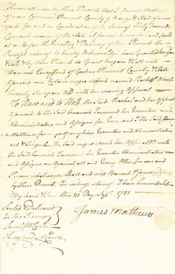 (SLAVERY AND ABOLITION--NEW YORK.) Early New York Manuscript Slave Sale Document, wherein James Mathews of New Cornwall, New York sells