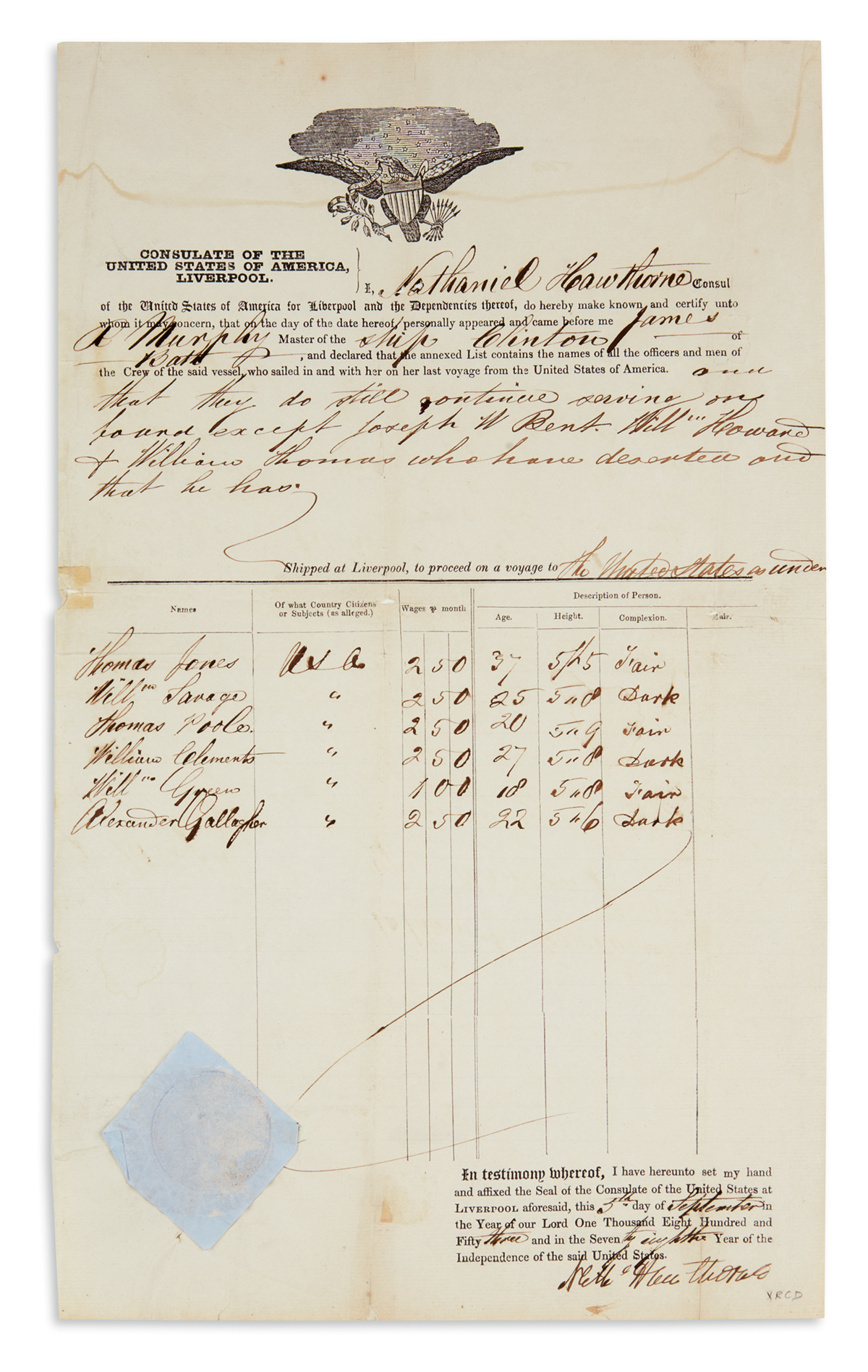 HAWTHORNE-NATHANIEL-Partly-printed-Document-Signed-Nathl-Haw