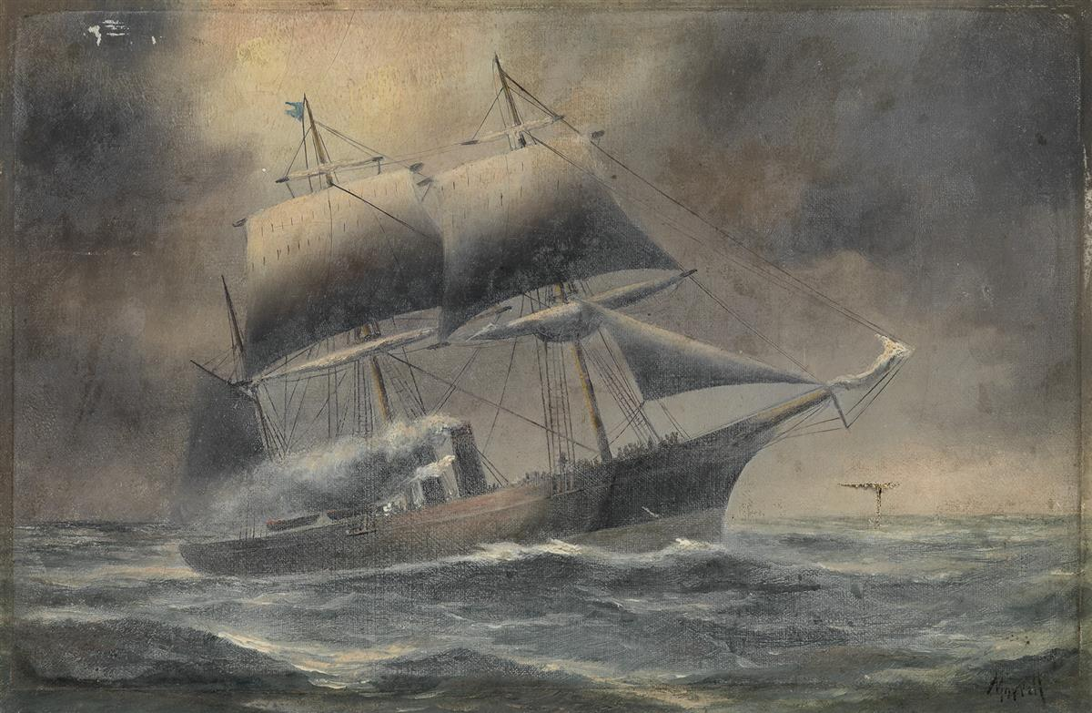 IMOGENE-MORRELL-Steamship-at-Sea-against-a-Stormy-Evening-Sk