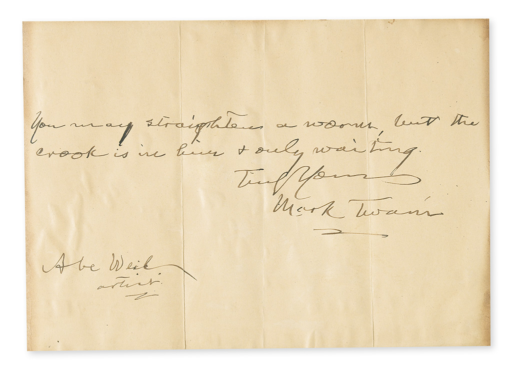 TWAIN, MARK. Autograph Quotation Signed and Inscribed, to Abe Weil / artist: