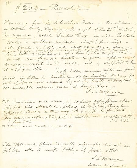 """(SLAVERY AND ABOLITION--VIRGINIA.) """"""""$200 Reward, Ran away from the subscriber."""""""" Detailed manuscript runaway slave broadside, sent to"""