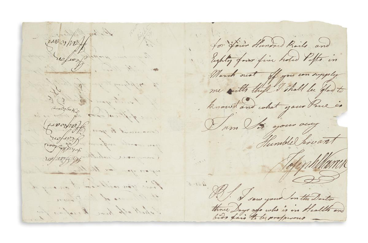 WARREN, JOSEPH. Autograph Letter Signed, to Captain John Hayward,