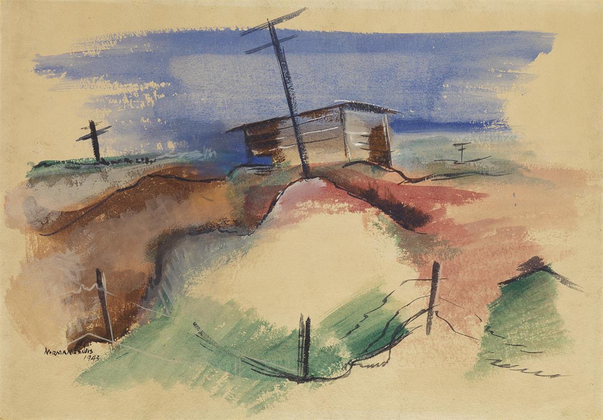 NORMAN-LEWIS-(1909---1979)-Untitled-(Rural-LandscapeConstruction-Workers)