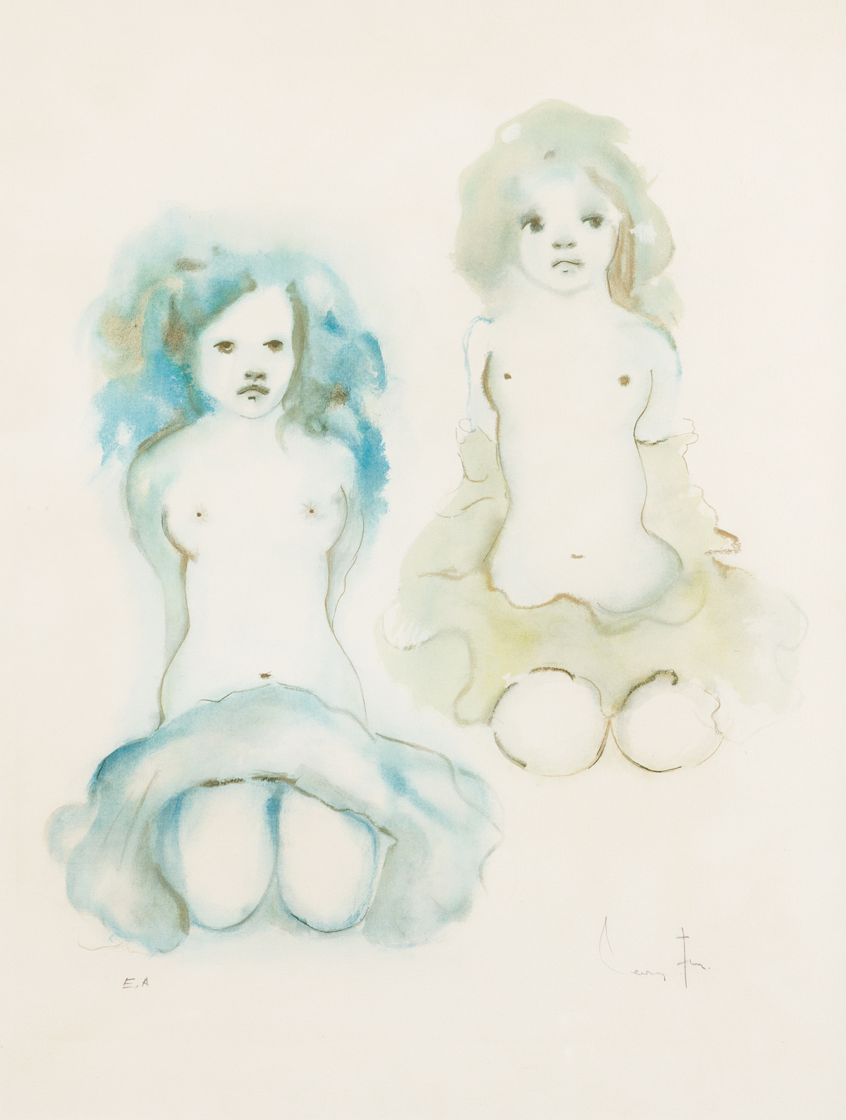 LEONOR FINI (1907-1996) Two Kneeling Nudes.