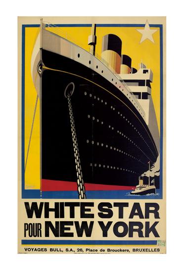SHEP (CHARLES SHEPHERD, 1892-?). WHITE STAR POUR NEW YORK [OLYMPIC.] Circa 1930. 39x24 inches, 100x61 cm. The Baynard Press, London.