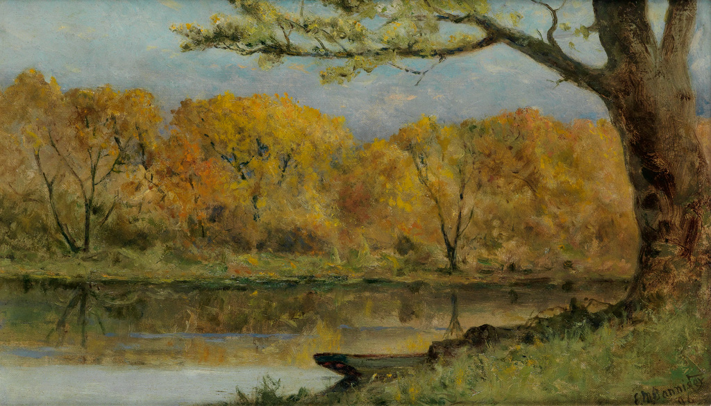 EDWARD M. BANNISTER (1828 - 1901) October on the Pawtuxet, RI.