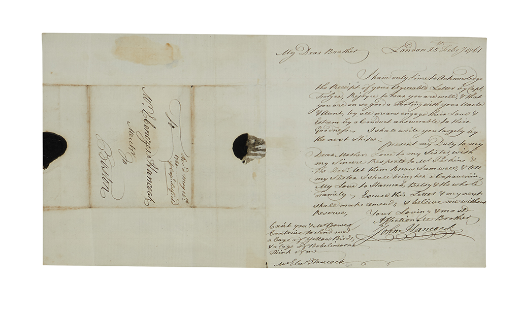 HANCOCK, JOHN. Autograph Letter Signed, twice (in full and Hancock in postscript), to his brother Ebenezer (My Dear Brother),