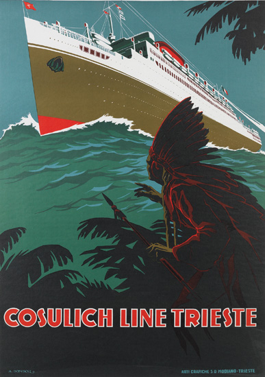 A. DONDOU (DATES UNKNOWN). COSULICH LINE TRIESTE. 38x26 inches, 96x68 cm. Arti Grafiche S.D. Modiano, Trieste.