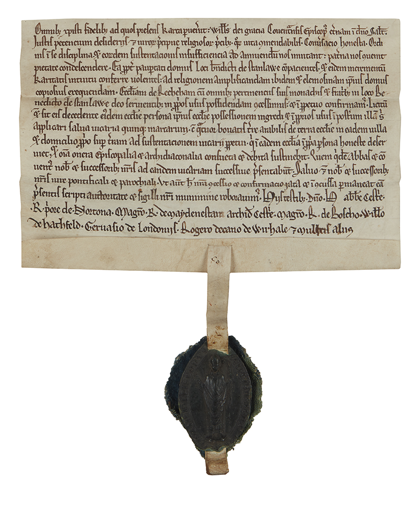 (WILLIAM; BISHOP OF COVENTRY.) Vellum Document, unsigned, charter granting the church of Rochdale to the Cistercian Abbey of Stanlaw, i