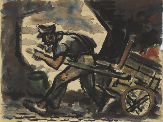 DOX THRASH (1892 - 1965) Man Pulling Cart.