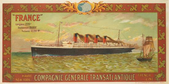 """EUGÈNE D'ARGENCE (1853-1920). """"FRANCE"""" / COMPAGNIE GÉNÉRALE TRANSATLANTIQUE / FRENCH LINE. 1911. 30x59 inches, 76x150 cm. Ste Gle d'I"""