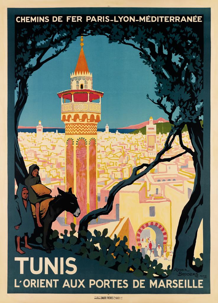 ROGER BRODERS (1883-1953). TUNIS. 1920. 42x30 inches, 108x77 cm. Daude Frères, Paris.