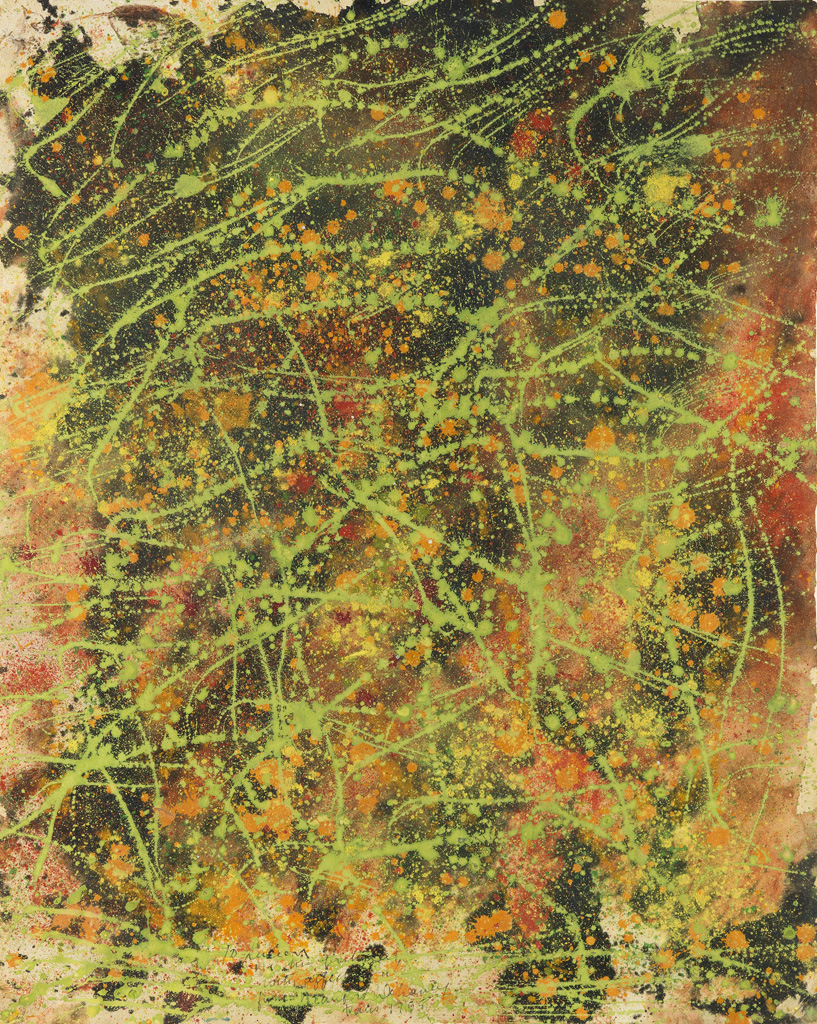BEAUFORD-DELANEY-(1901---1979)-Untitled-(Green-Drip-Abstract