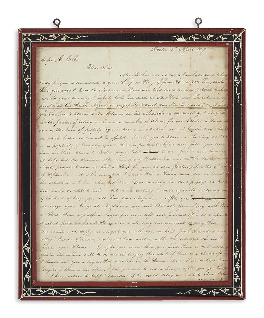 (SLAVERY-AND-ABOLITION)-Shepherd-Rezin-D-Letter-ordering-a-s