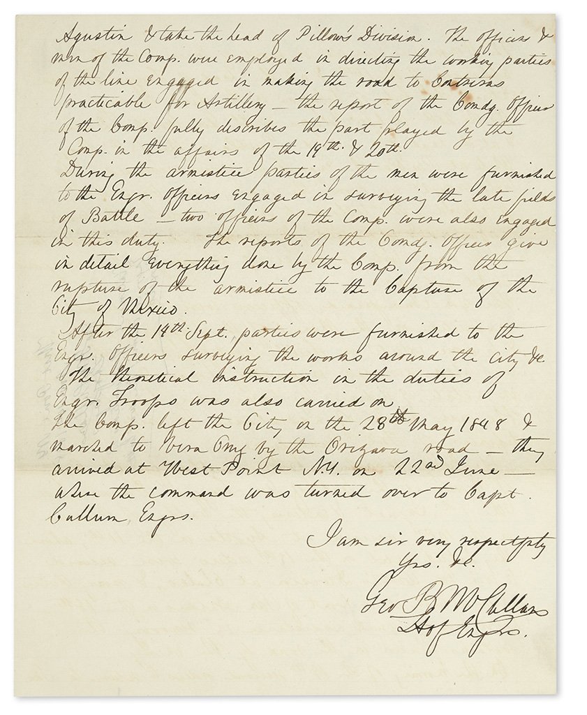 (MEXICAN WAR.) McClellan, George B. An unpublished manuscript report on his Mexican War service with the Engineer Corps.