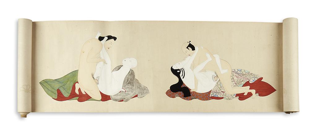 (EROTICA--JAPANESE.) Edo period Japanese shunga scroll depicting 10 different erotic scenes in the ukiyo-e style.