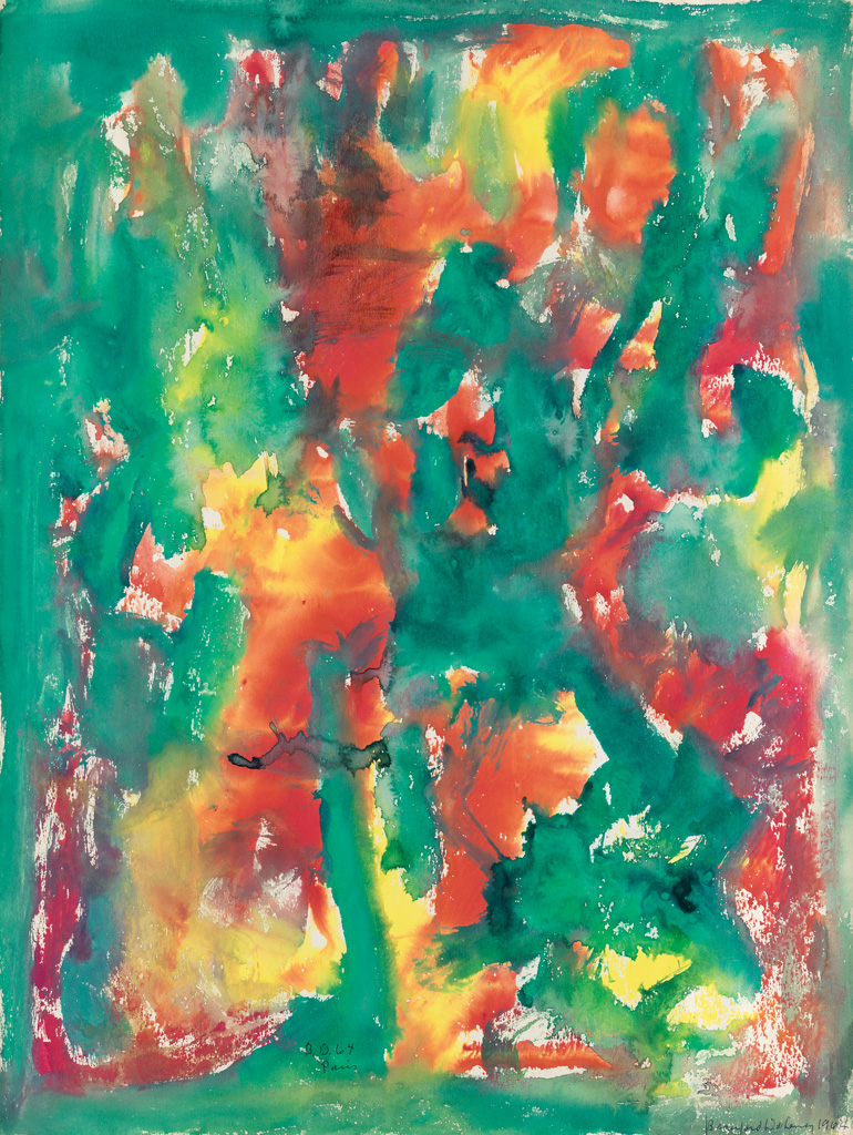 BEAUFORD DELANEY (1901 - 1979) Untitled (Green, Red and Yellow Abstraction).