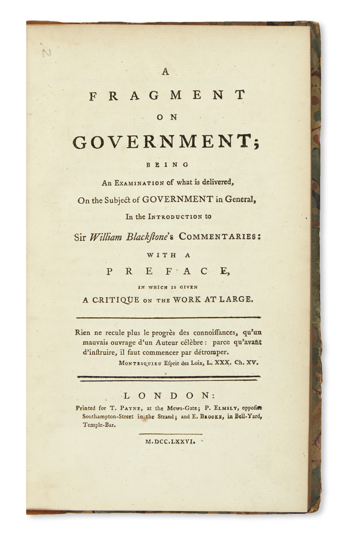 BENTHAM-JEREMY--A-Fragment-on-Government--1776