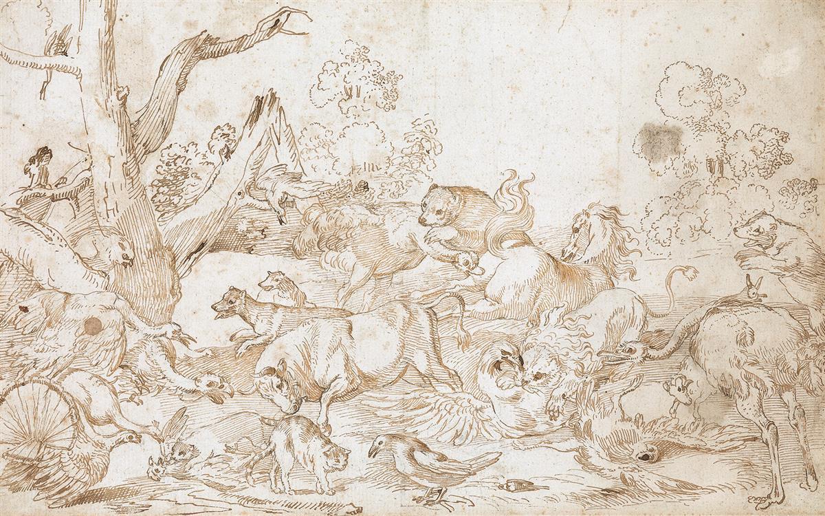 SINIBALDO-SCORZA-(Voltaggio-1589-1631-Genoa)-Animals-Fightin