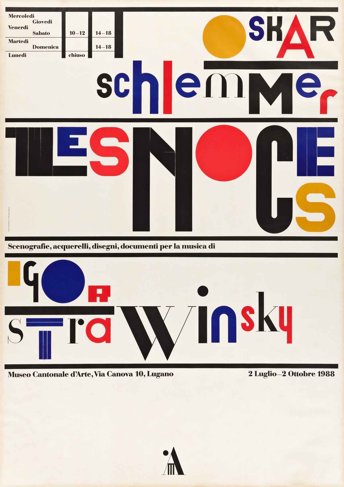 BRUNO MONGUZZI (1941- ).  OSKAR SCHLEMMER / LES NOCES / IGOR STRAVINSKY. 1988. 50¼x35½ inches, 127½x90¼ cm. Fratelli Roda, Taverne.