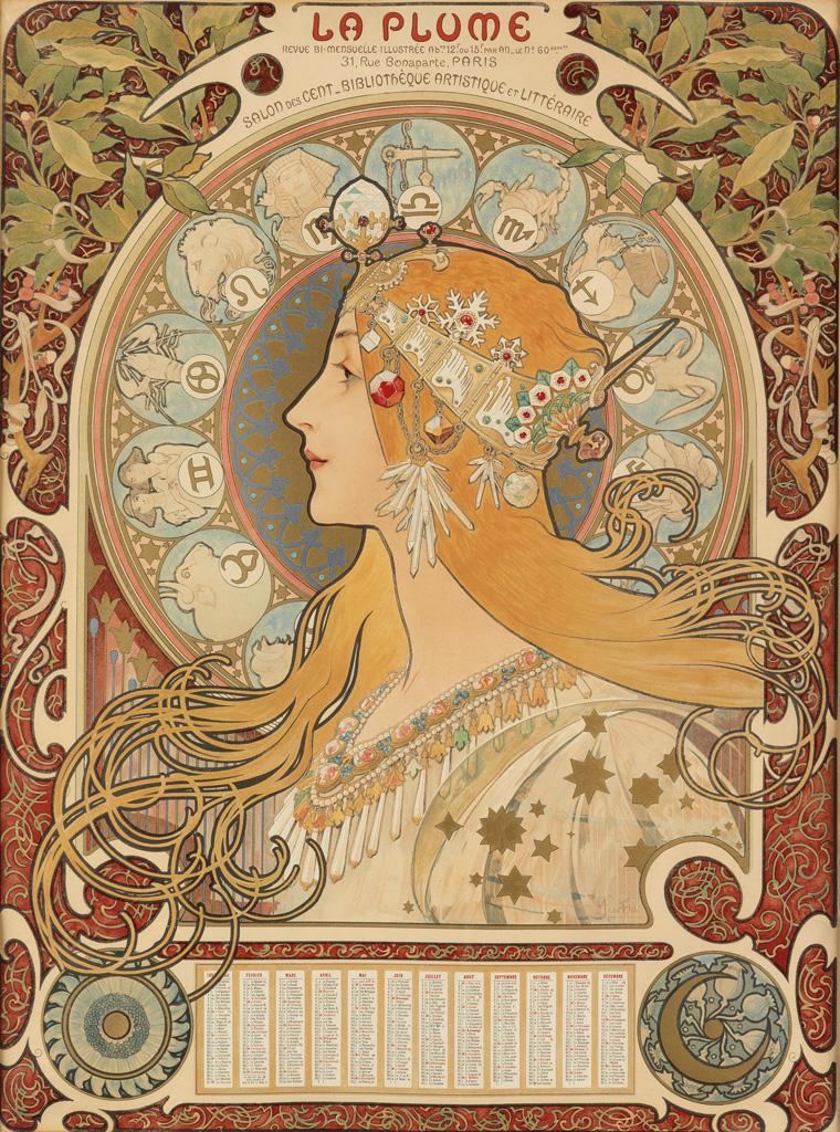 ALPHONSE-MUCHA-(1860-1939)-[ZODIAC]--LA-PLUME-1896-25x18-inc