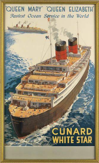 (CUNARD LINE.) Queen Elizabeth. Queen Mary Queen Elizabeth Fastest Ocean Service in the World.