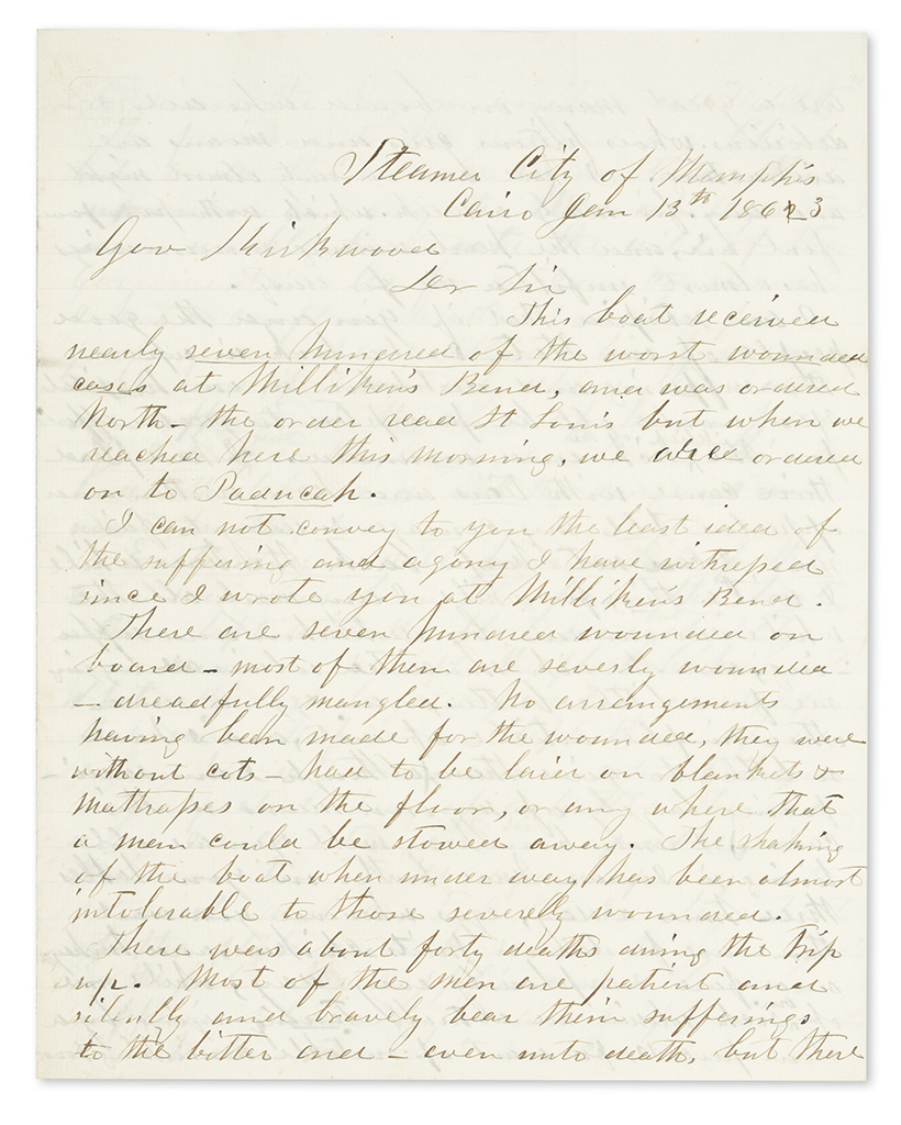 (CIVIL WAR--IOWA.) Archive of correspondence of the Iowa Sanitary Commission, many by agent Annie Wittenmyer in the field.