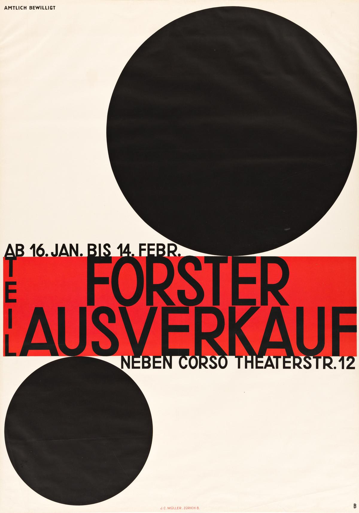 OTTO BAUMBERGER (1889-1961).  FORSTER TEIL AUSVERKAUF. 1928. 50¼x35½ inches, 127½x90¼ cm. J.C. Müller, Zurich.