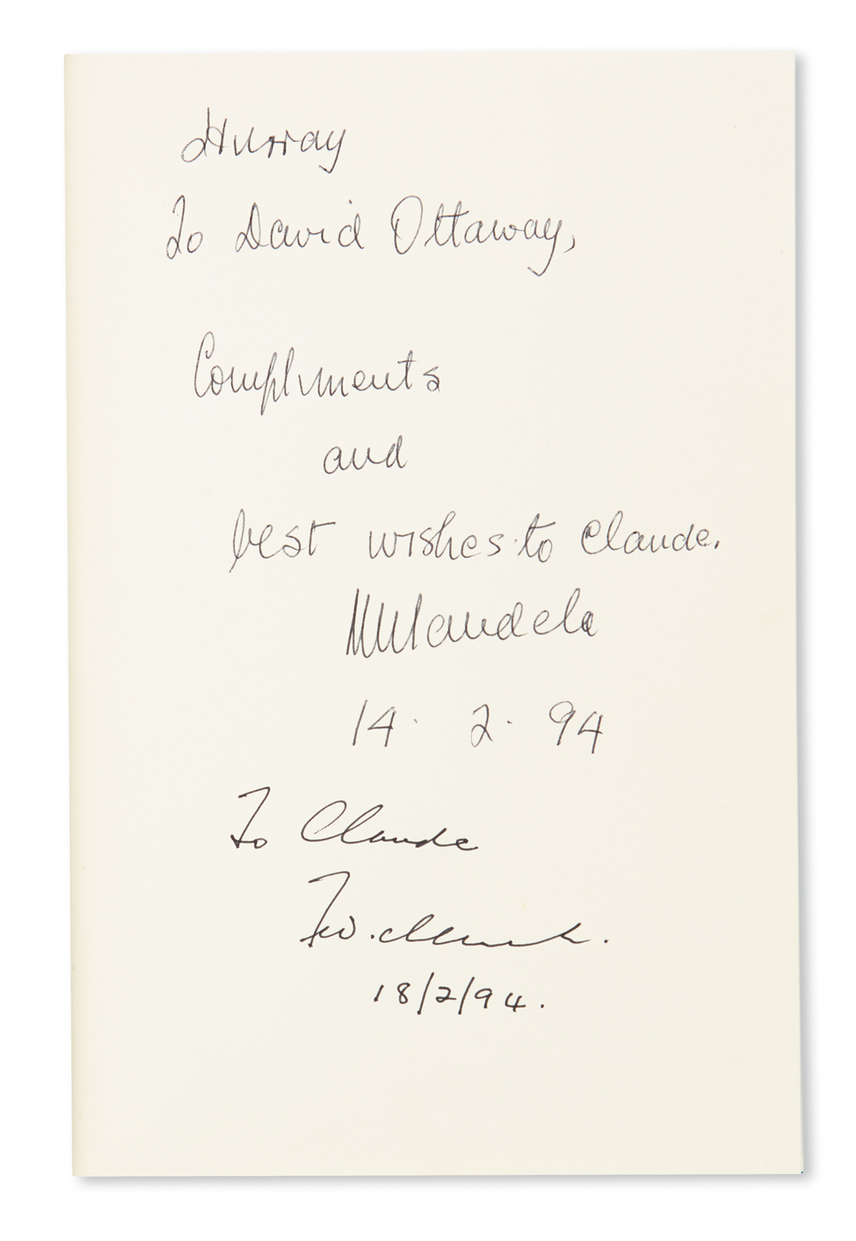 MANDELA-NELSON-David-Ottaway-Chained-Together-Signed-and-Inscribed-by-Mandela-on-the-front-free-endpaper