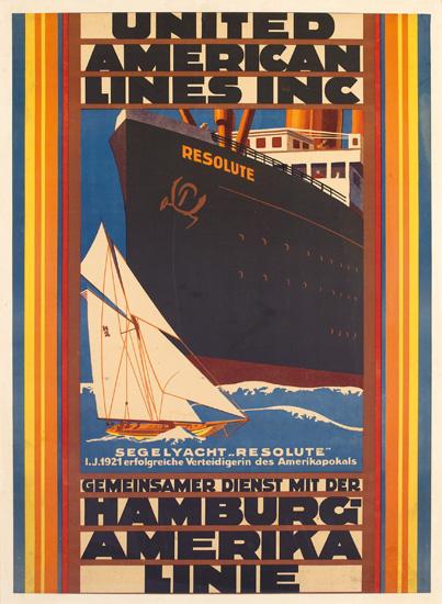 DESIGNER UNKNOWN. UNITED AMERICAN LINES INC / HAMBURG-AMERIKA LINIE. 1921. 37x27 inches, 80x69 cm.