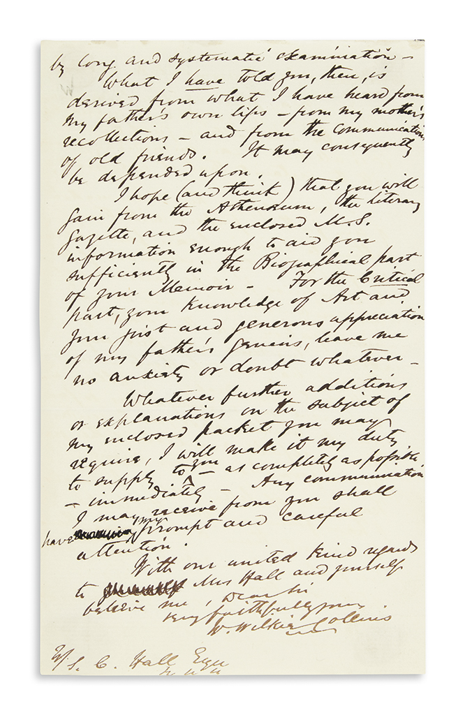 COLLINS, WILKIE. Autograph Letter Signed, W.WilkieCollins, to S.C. Hall,